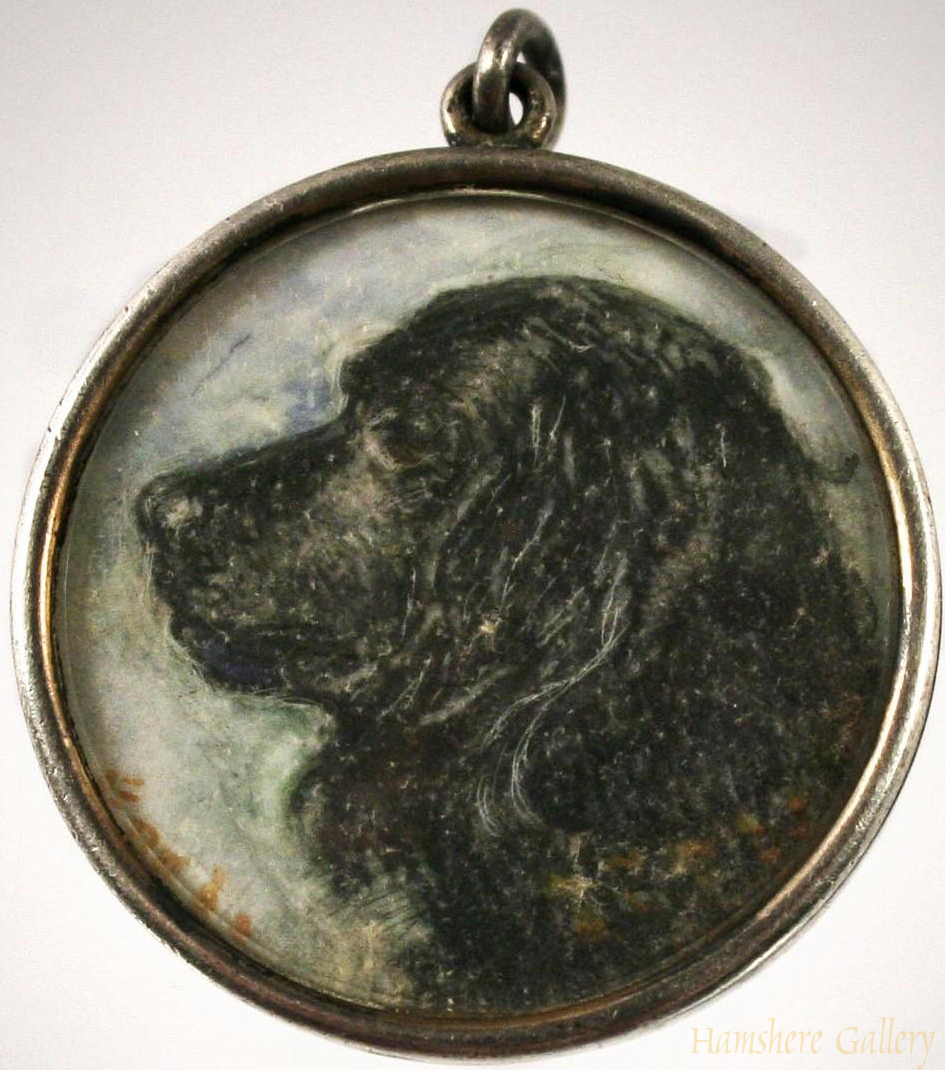 Click to see full size: Miniature on ivory of a Newfoundland