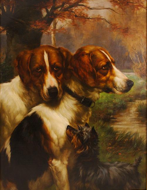 Click to see full size: Oil on canvas of two Red and White Irish Setters with a Yorkshire Terrier by James Yates Carrington (English, 1857-1892).