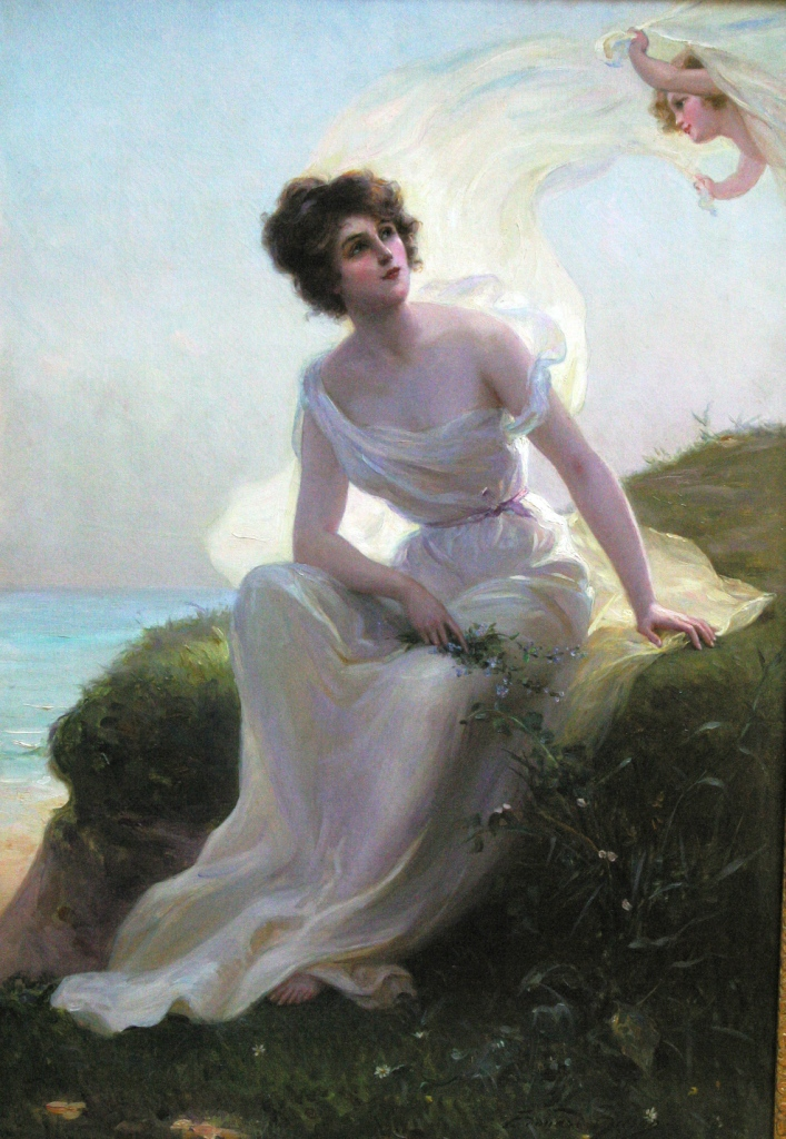 Click to see full size: Oil on canvas of a Lady by Edouard Bisson