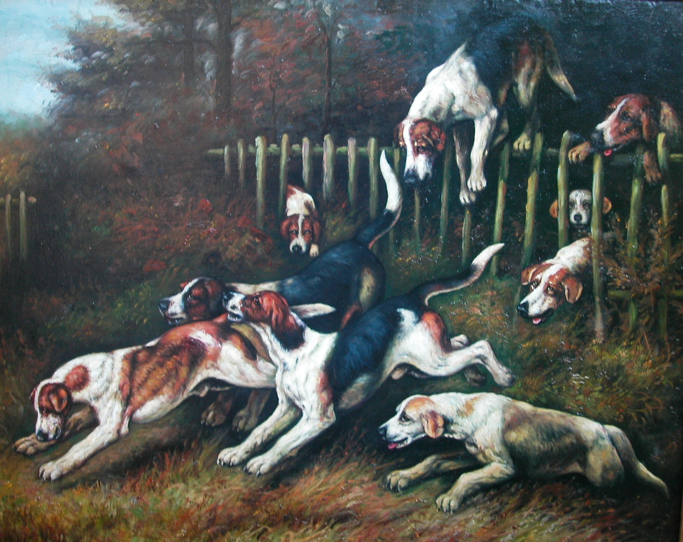 Click to see full size: Foxhounds- Oil on board