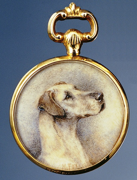 Click to see full size: Miniature on ivory of a Great Dane by Mrs Minnie Fox (English, 1875-1976)
