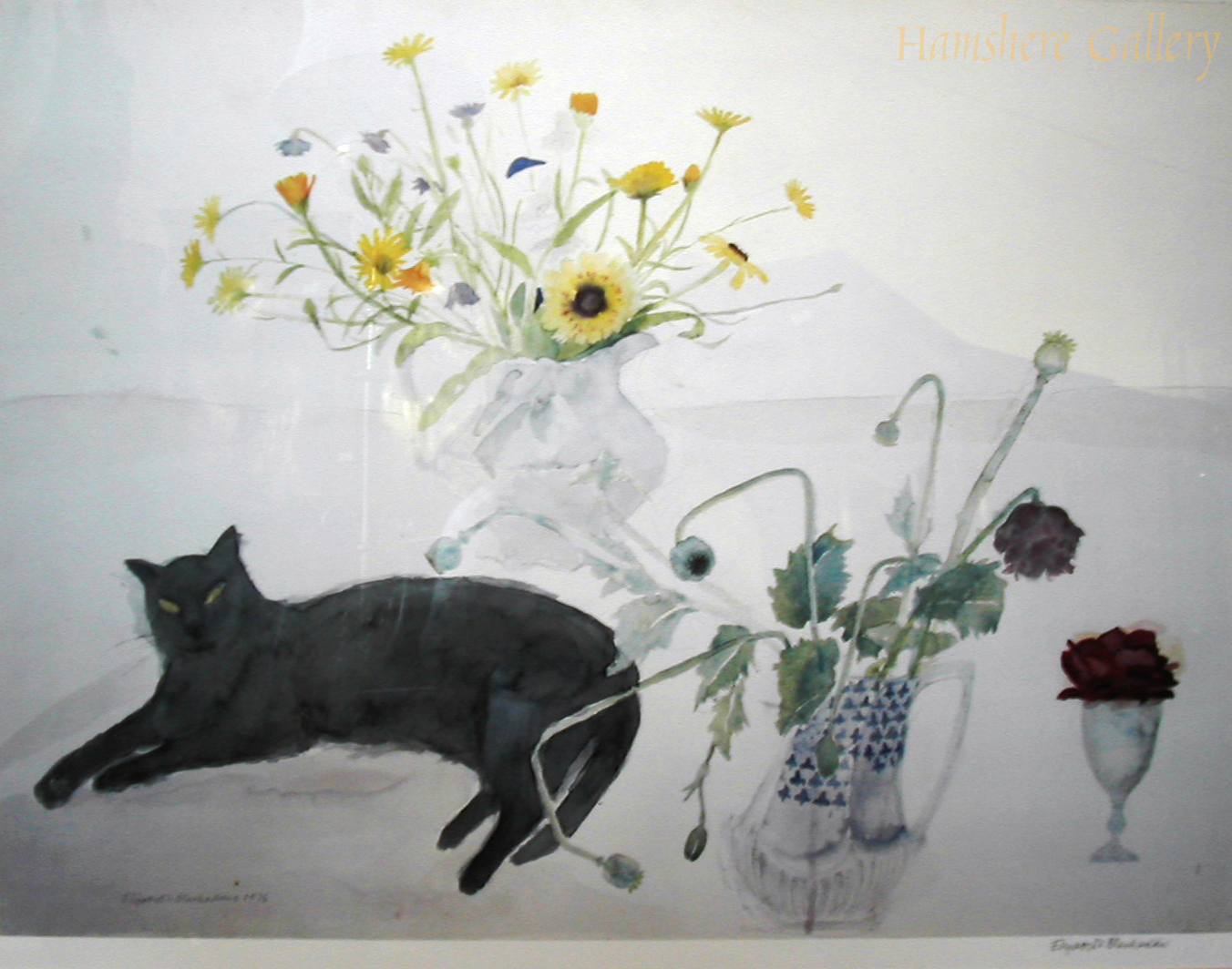 Click to see full size: Cat by Vase of Flowers by Dame Elizabeth Blackadder