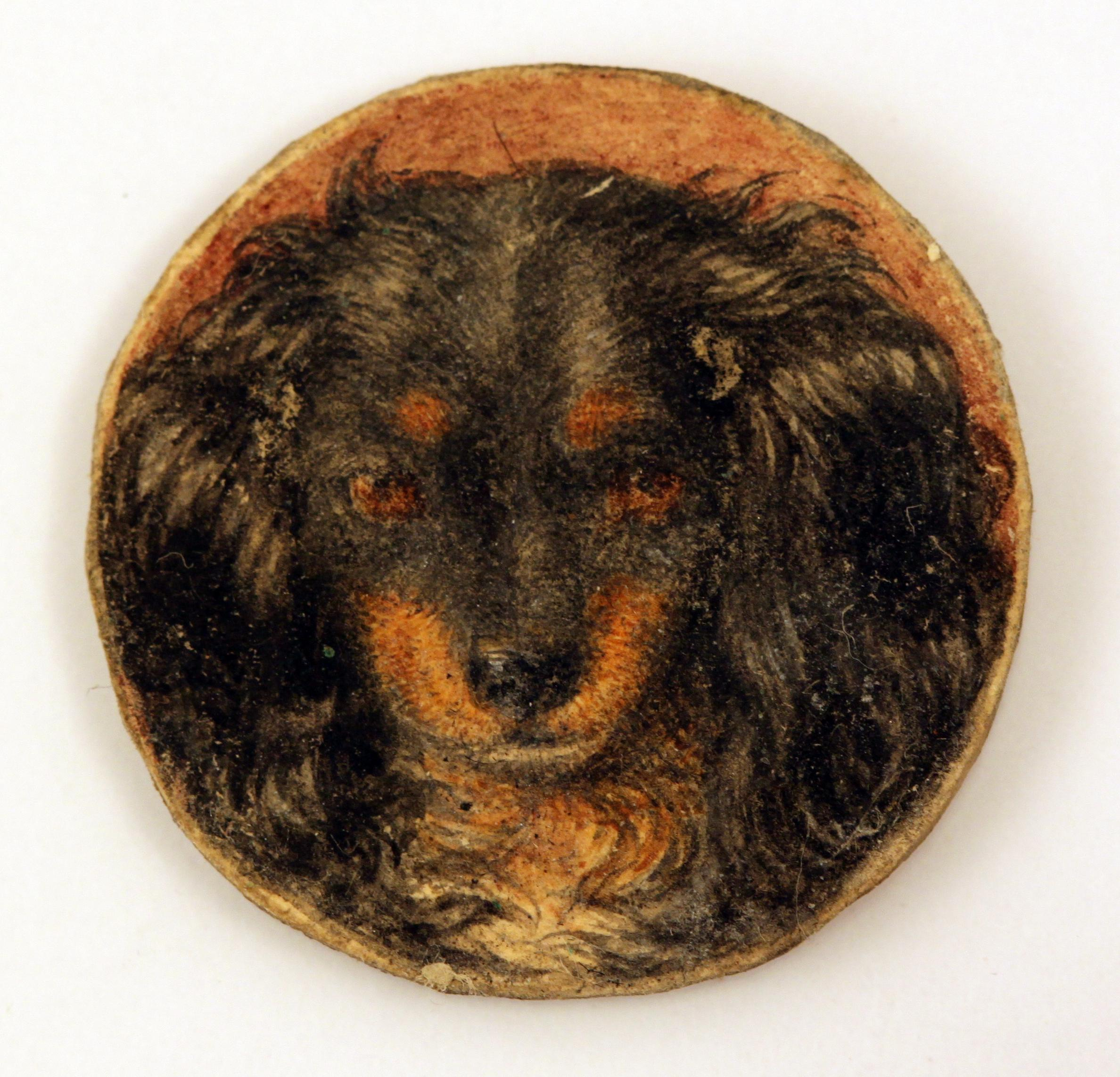 Click to see full size: 19th century miniature of a Black and Tan King Cavalier Spaniel