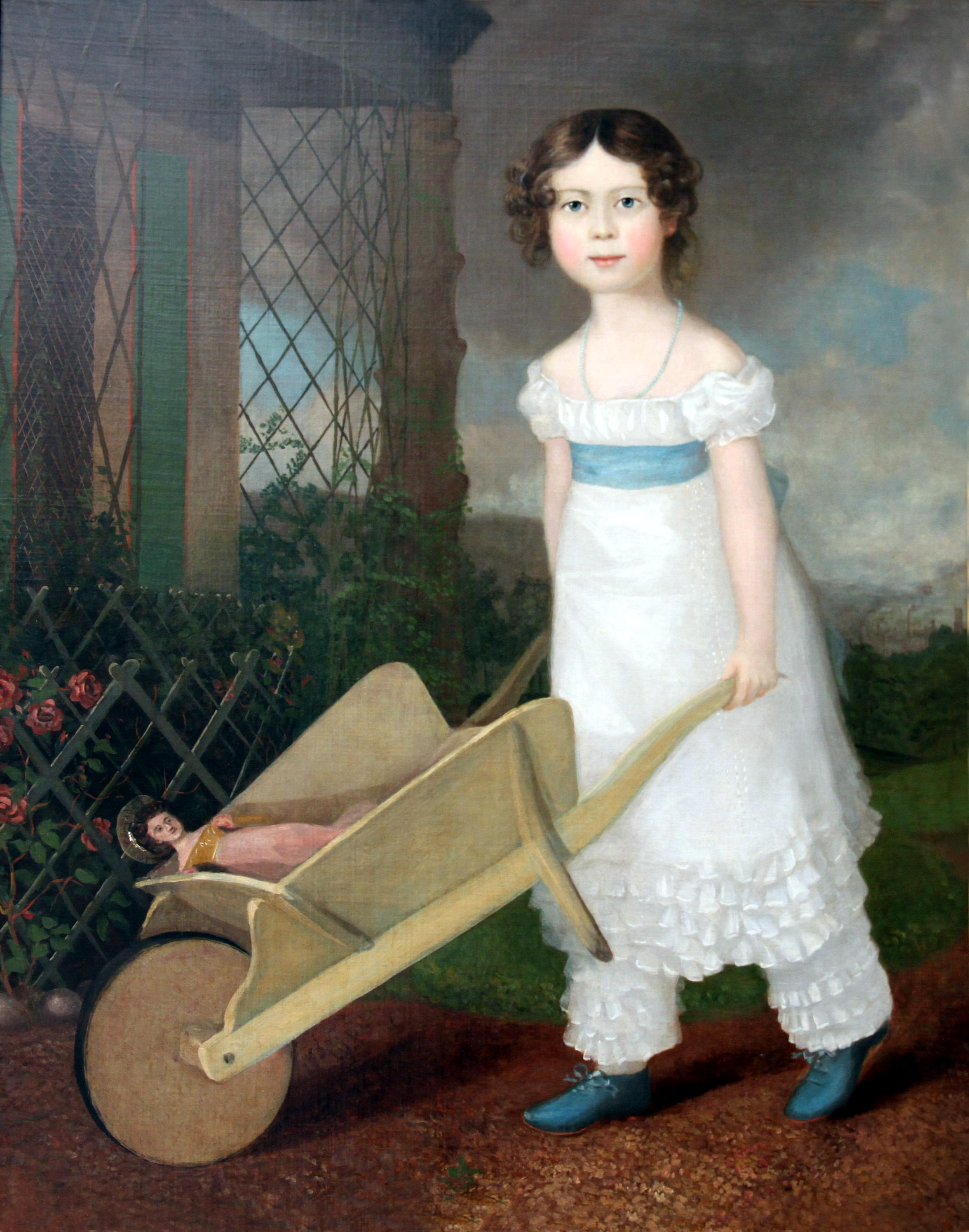 Click to see full size: Oil on canvas of girl with her wheelbarrow
