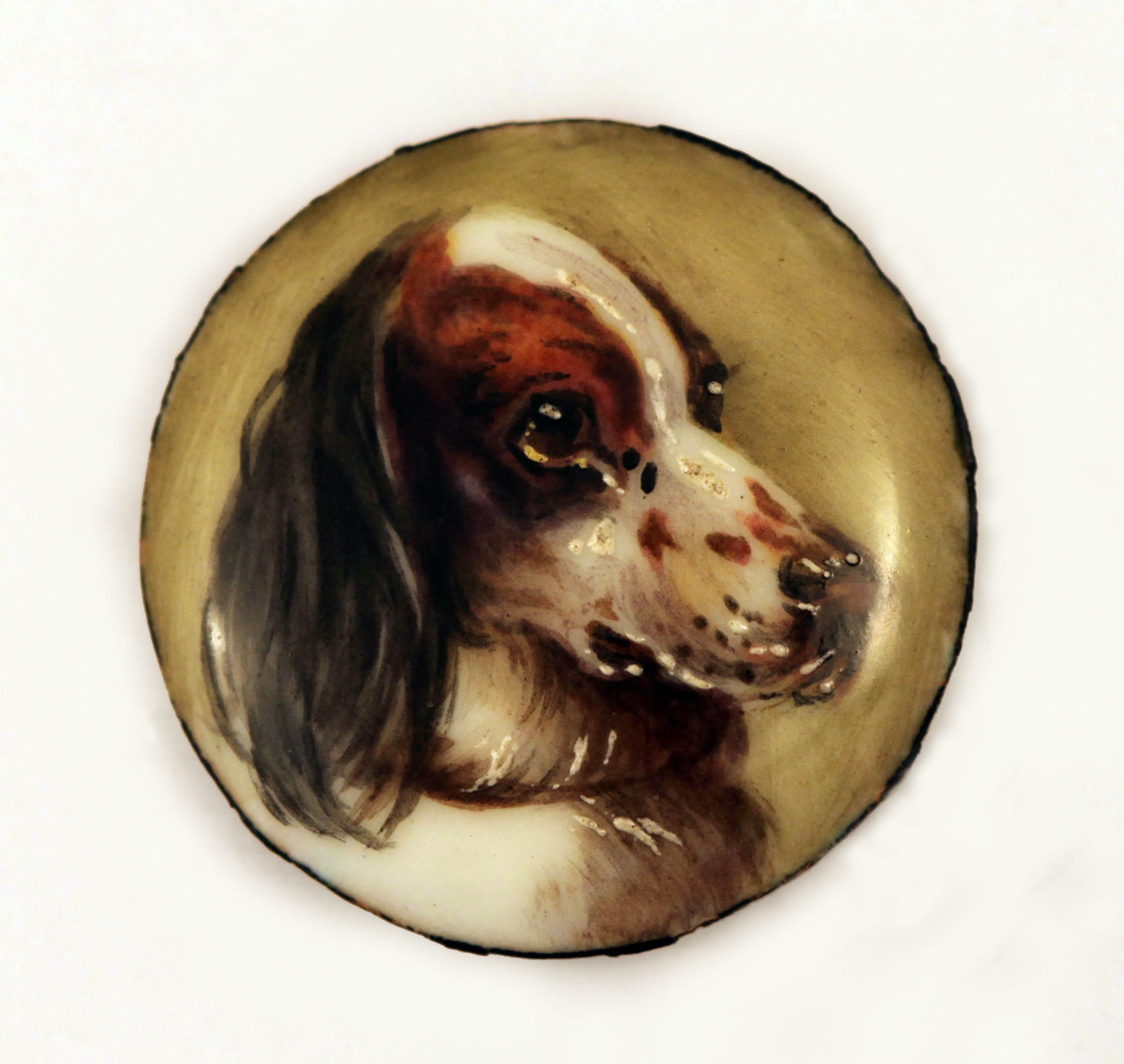 Click for larger image: Miniature in enamel of a Setter by William Page Simpson - Miniature in enamel of a Setter by William Page Simpson
