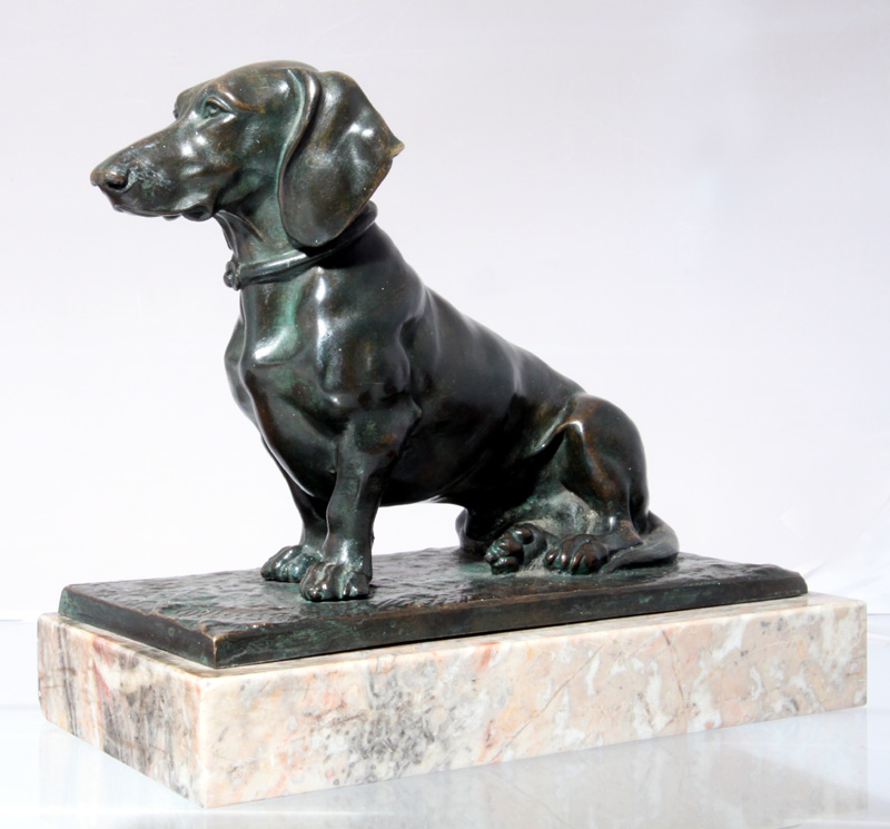 Click to see full size: Art Deco Bronze Dachshund by Johann Kurt Pflug (1897-1956)