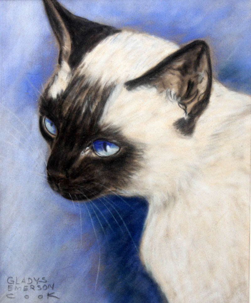 Click to see full size: Siamese Cat by Gladys Emerson Cook (American, 1899-1976).- Siamese Cat by Gladys Emerson Cook (American, 1899-1976).