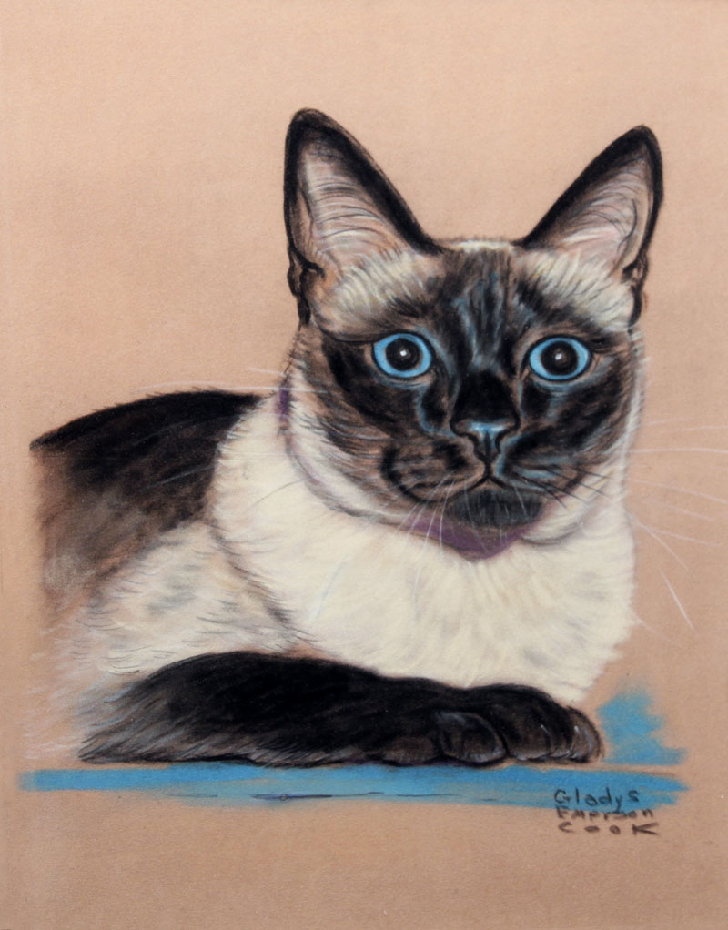 Click to see full size: Siamese Cat by Gladys Emerson Cook (American, 1899-1976)- Siamese Cat by Gladys Emerson Cook (American, 1899-1976)