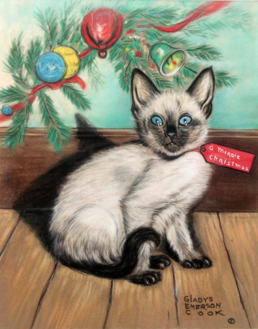 Click to see full size: A ?Christmas? Siamese Kitten by Gladys Emerson Cook (American, 1899-1976)1899-1976)- A ?Christmas? Siamese Kitten by Gladys Emerson Cook (American, 1899-1976)1899-1976)