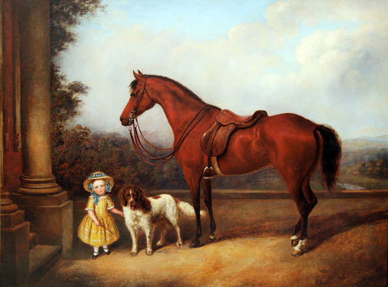 Click to see full size: Young girl with Spaniel and horse in terrace setting with river landscape beyond