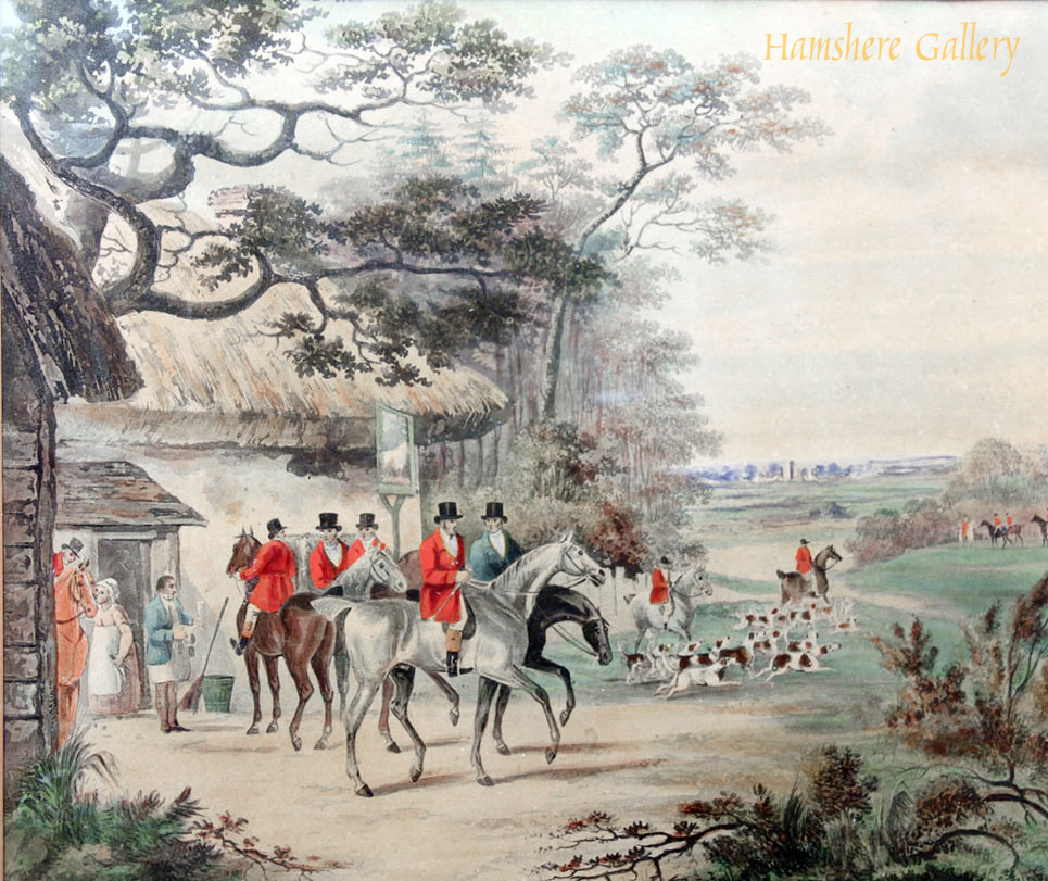Click to see full size: A watercolour of a hunting scene outside English public house