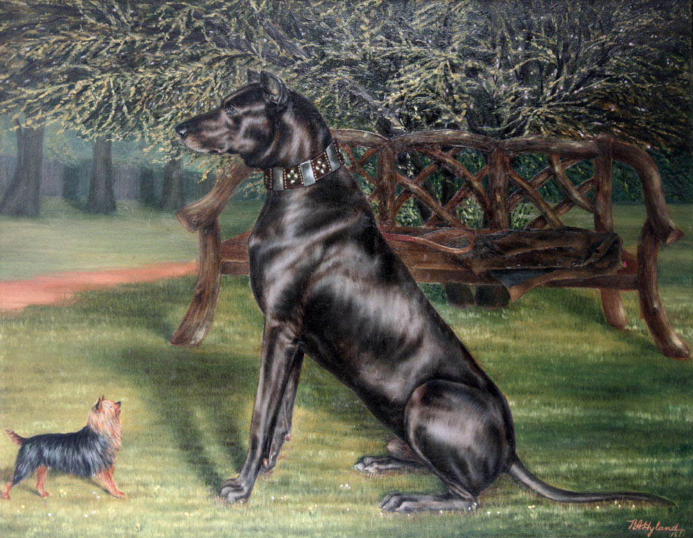 Click to see full size: Oil on canvas painting of a Great Dane and a Yorkshire Terrier by Benedict A. Hyland