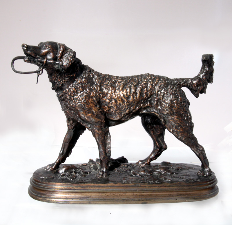 Click to see full size: Pierre Jules Mene (1810-1879) bronze of a Curly Coated Retriever, ?Chien Au Fouet (Warwick)?.