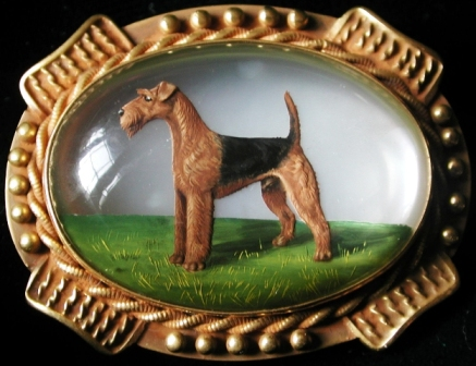 Click to see full size: Airedale Crystal Brooch