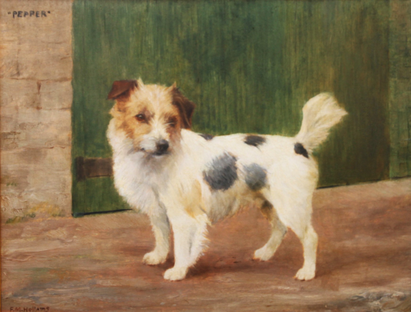 Click to see full size: Wire-haired Jack Russell by Florence Mabel Hollams (1877 - 1963)