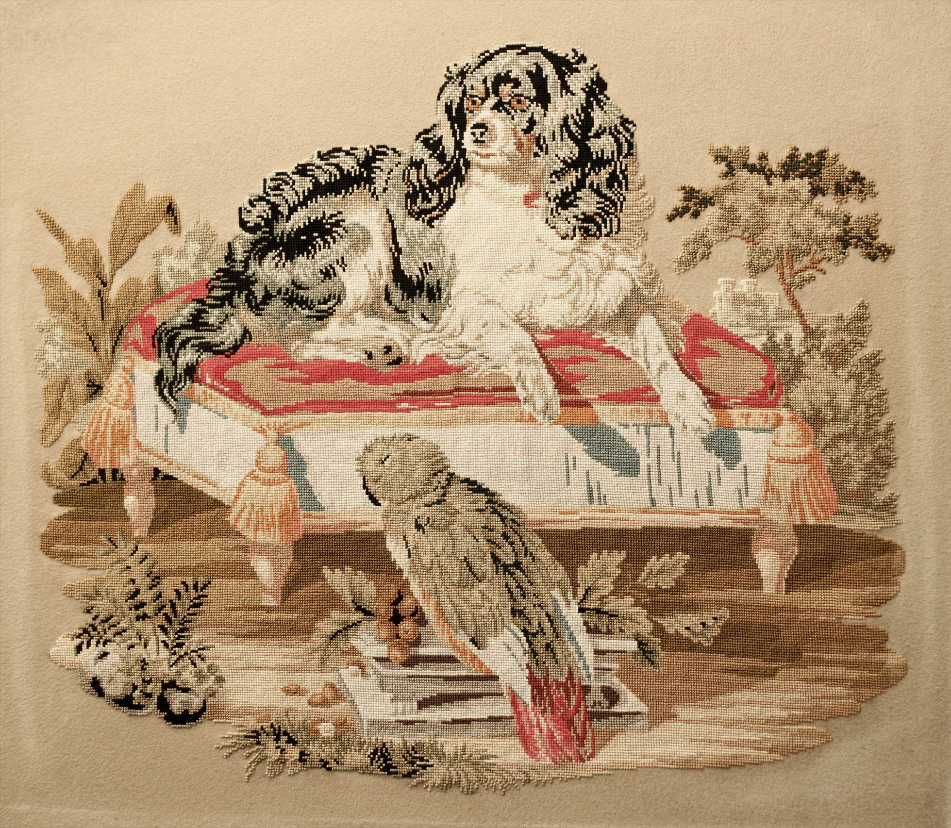 Victorian needlepoint / needlework / textile of the Cavalier Spaniel 'Dash', Queen Victoria's favourite, and the parrot Lory.