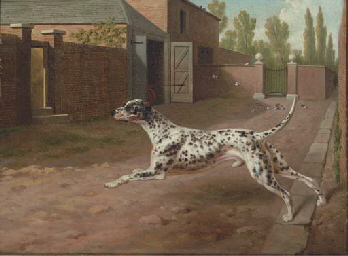 Click to see full size: Oil on canvas of Dalmation by Philip Reinagle, R.A. (1749-1833)