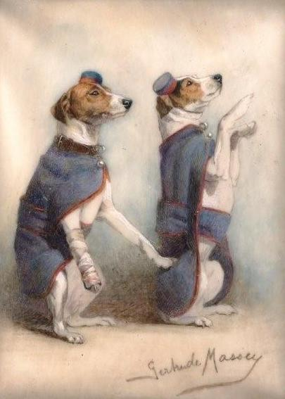 Click to see full size: Minature of Fox Terriers in a war by Gertrude Massey