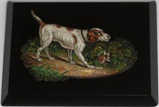 Click for larger image: Micromosaic / Micro-Mosaic / Micro Mosaic plaque of a Pointer - Micromosaic / Micro-Mosaic / Micro Mosaic plaque of a Pointer