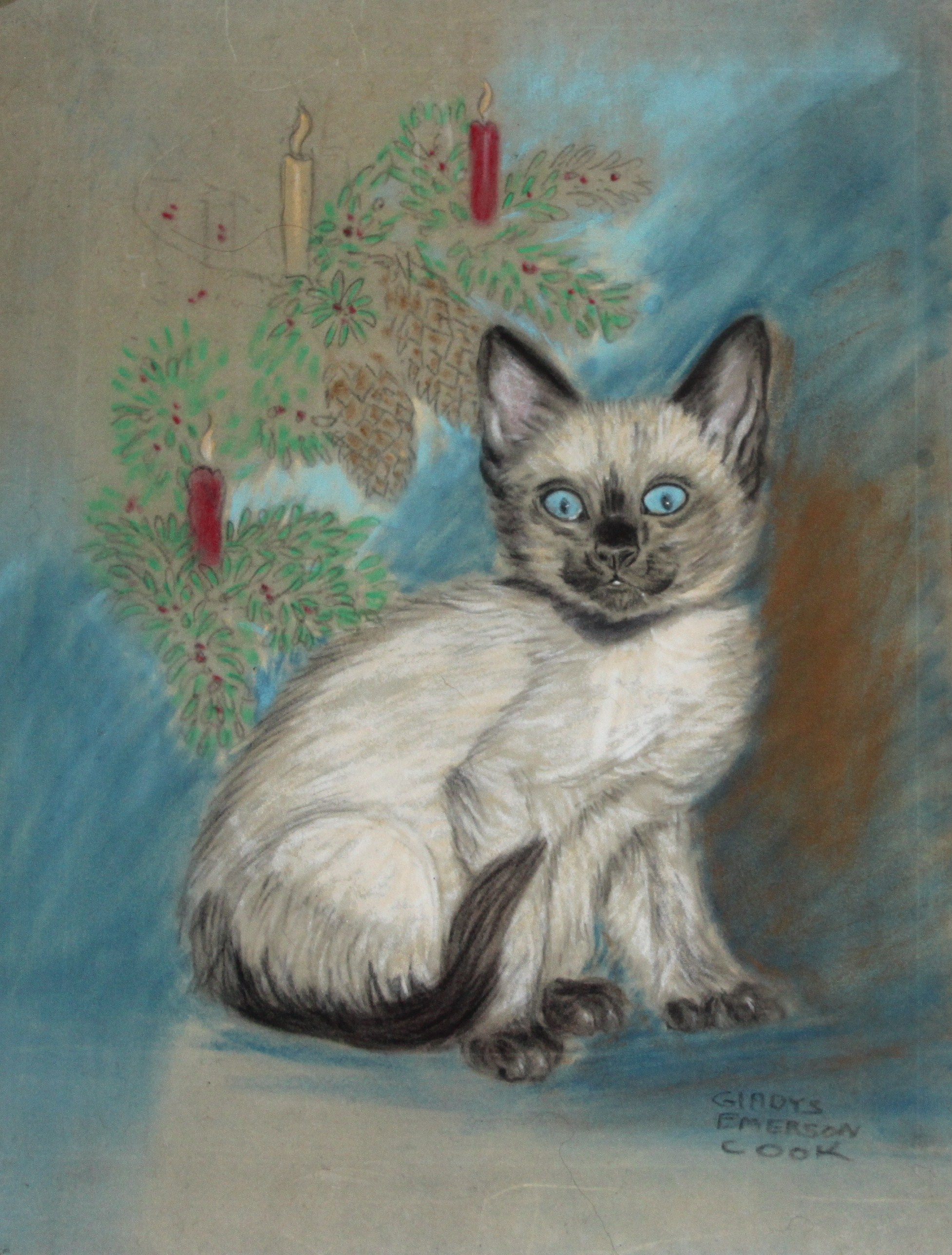 Click to see full size: A ?Christmas? Siamese Kitten by Gladys Emerson Cook (American, 1899-1976)- A ?Christmas? Siamese Kitten by Gladys Emerson Cook (American, 1899-1976)