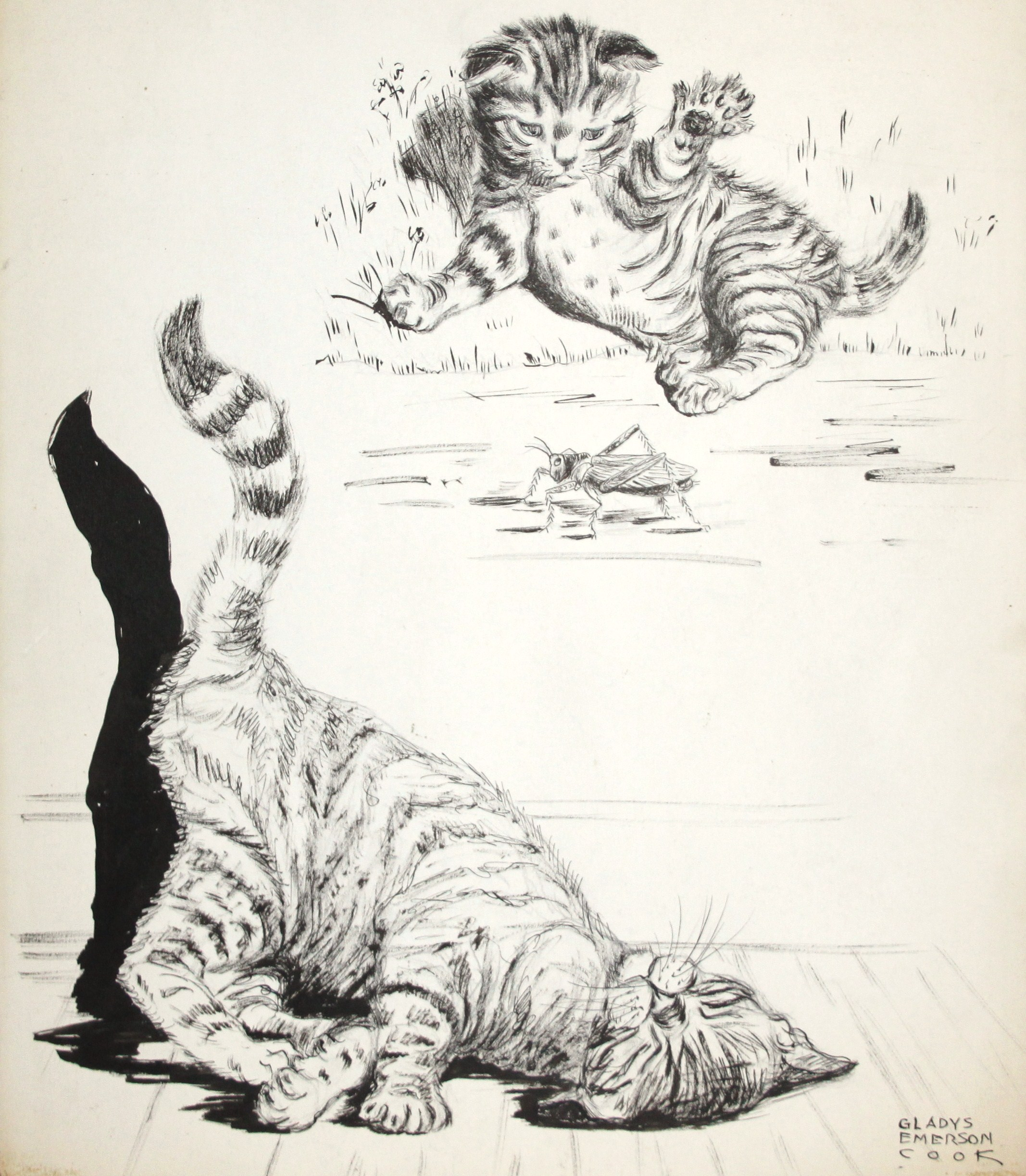 Click to see full size: Pen & ink of two Tabby Kittens by Gladys Emerson Cook (American, 1899-1976)- Pen and ink on paper of two Tabby kittens at play, one with a cricket, by Gladys Emerson Cook (American, 1899-1976).These kittens are most likely those that appear in the artist book