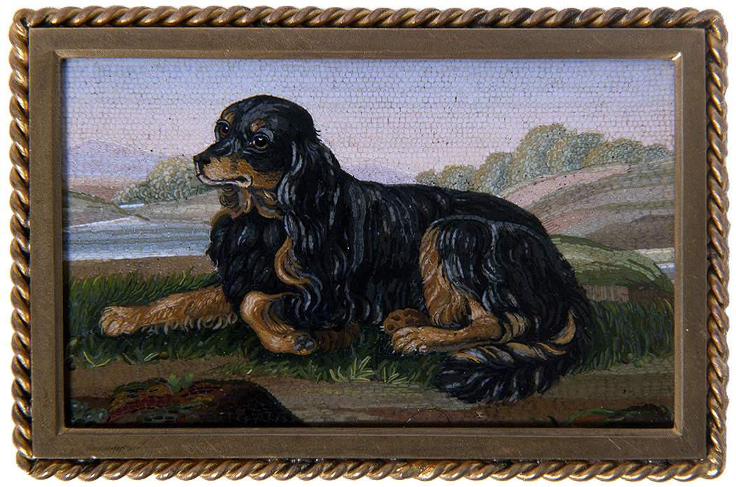 Click to see full size: Micromosaic of a Gordon Setter set to an ivory box- Micromosaic of a Gordon Setter set to an ivory box