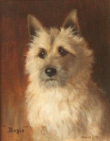 Click to see full size: Cairn Terrier oil on panel by Monica Gray (late 19th ? early 20th century)- Cairn Terrier oil on panel by Monica Gray (late 19th ? early 20th century)