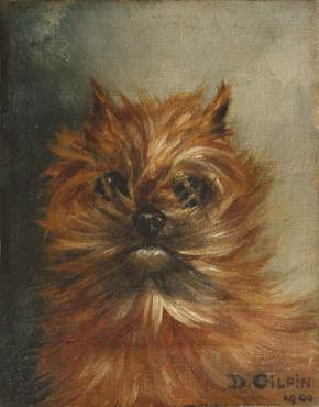 Click to see full size: Oil on canvas of a Griffon Bruxellois by D Gilpin- Oil on canvas of a Griffon Bruxellois by D Gilpin