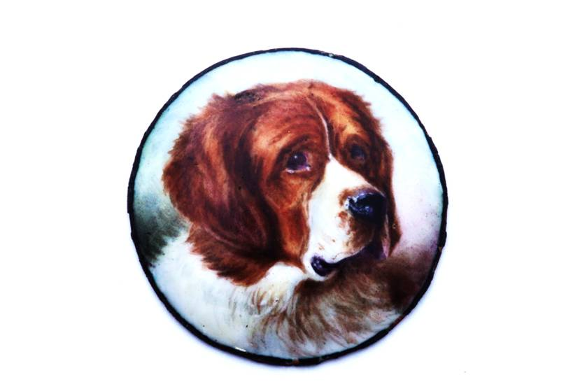 Click to see full size: St. Bernard Enamel Miniature by William Page Simpson- St. Bernard Enamel Miniature by William Page Simpson