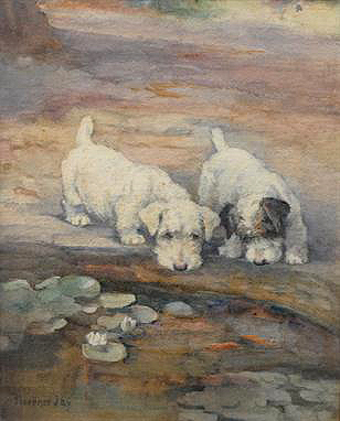 Click to see full size: ?Fascination? a watercolour of two Sealyham Terriers peering into a lily pond Miss Florence Jay (English, Fl 1900-1928)