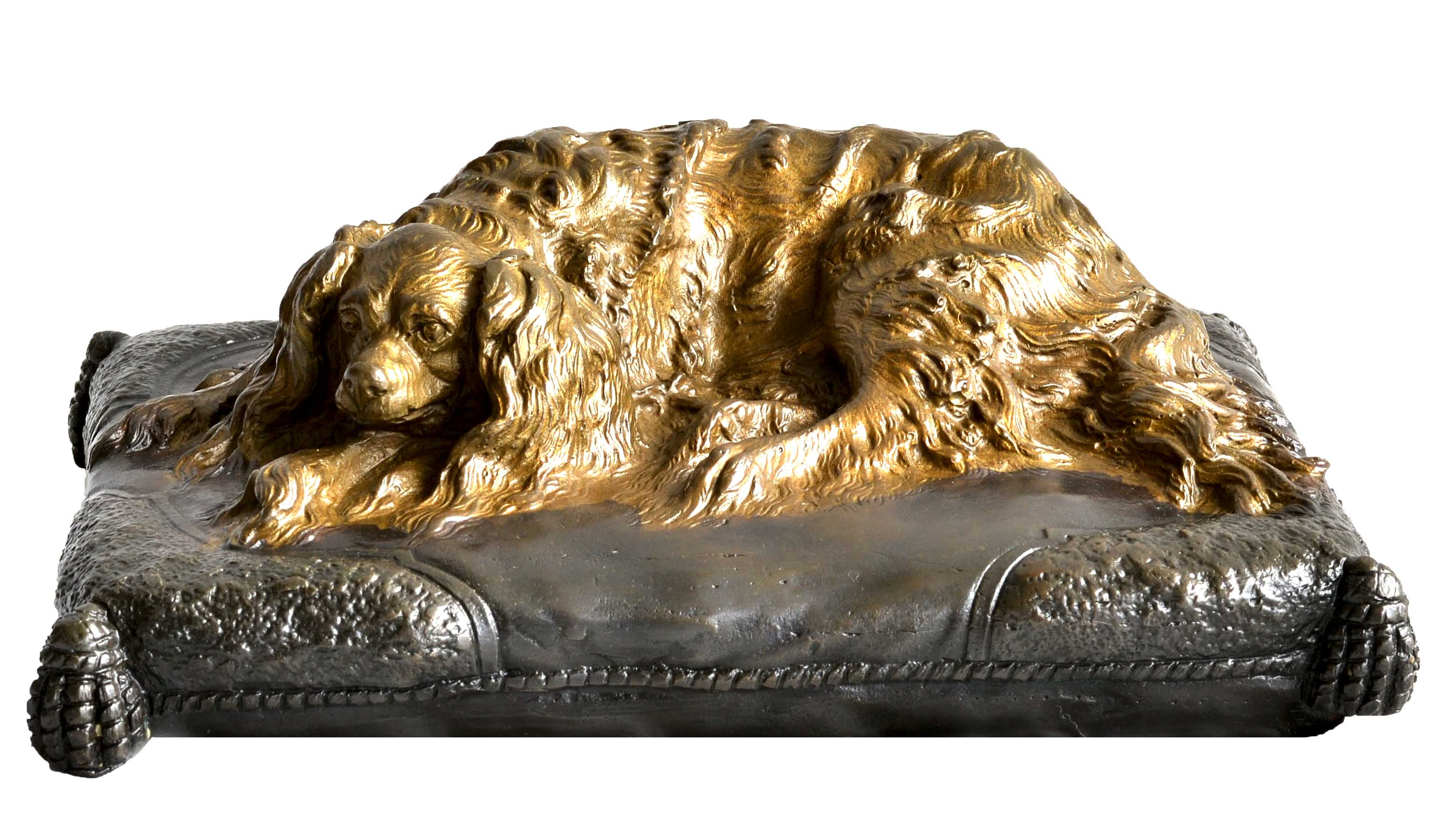 Click to see full size: Bronze King Charles Cavalier Spaniel recumbent upon a tasselled cushion by Emmanuel Fr?miet (1824 -1910)  An early small and very detailed bronze which Fr?miet cast himself from his workshop and foundry at 42 Boulevard du Temple. This Spaniel bronze is es- Bronze King Charles Cavalier Spaniel recumbent upon a tasselled cushion by Emmanuel Fr?miet (1824 -1910)<br /> <br /> An early small and very detailed bronze which Fr?miet cast himself from his workshop and foundry at 42 Boulevard du Temple. This Spaniel bronze is especially interesting and rare displaying two patinations.<br /> <br /> French circa 1850<br />
