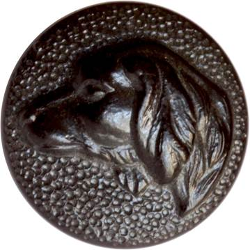 Click to see full size: A set of six ?boutons de chasse v?nerie?, hunting buttons of gun dogs, possibly Pointer / Braque / Labrador Marked to the reverse ?R L & Fre Paris?, being that of R.L.& Fr?res PARIS, button makers from 1875-1900. French, circa 1890