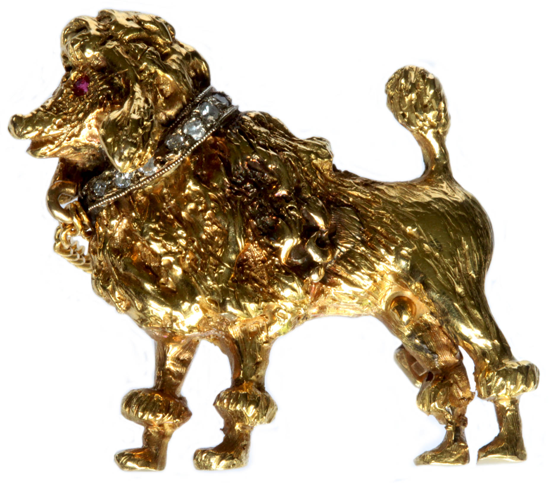 Click to see full size: Gold mounted enamel stick pin of the Bulldog ?Champion Pathfinder? by James (John) William Bailey (1831-1914)