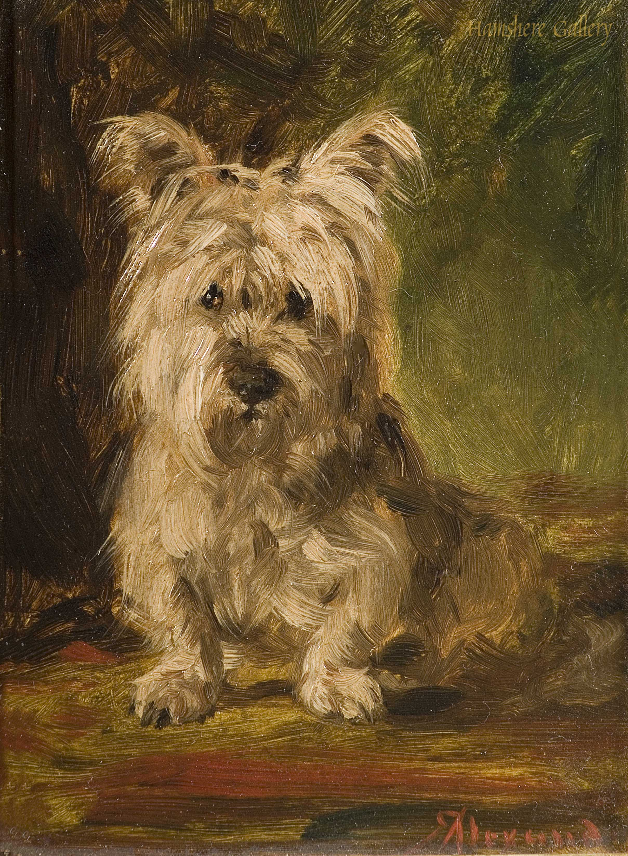 Click to see full size: Oil on panel of a Skye Terrier by Robert Alexander, R.S.A, R.S.W (Scottish, 1840-1923)