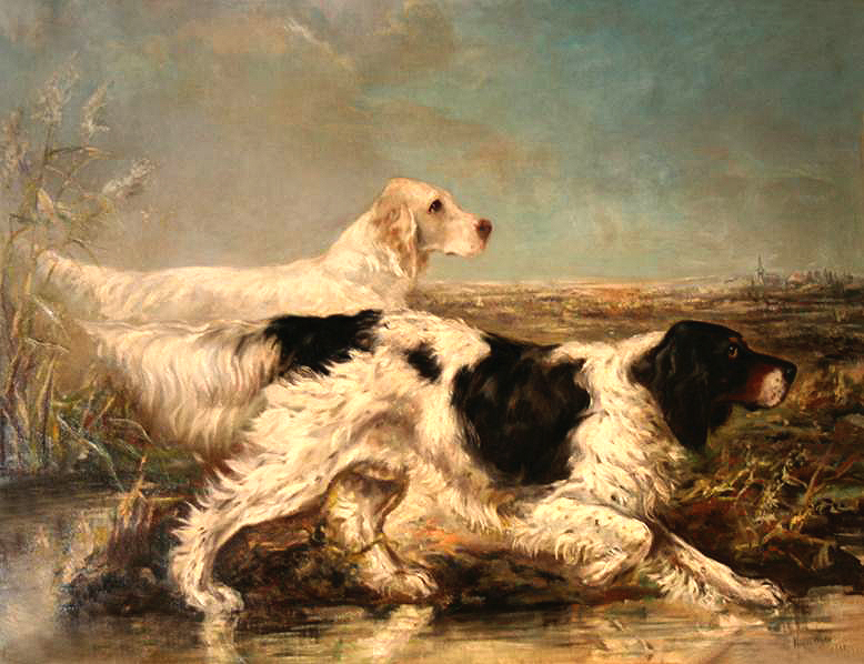 Click to see full size:  Oil on canvas of a pair of English Setters by Thomas Verner Moore White (American, 1863 ?1923)