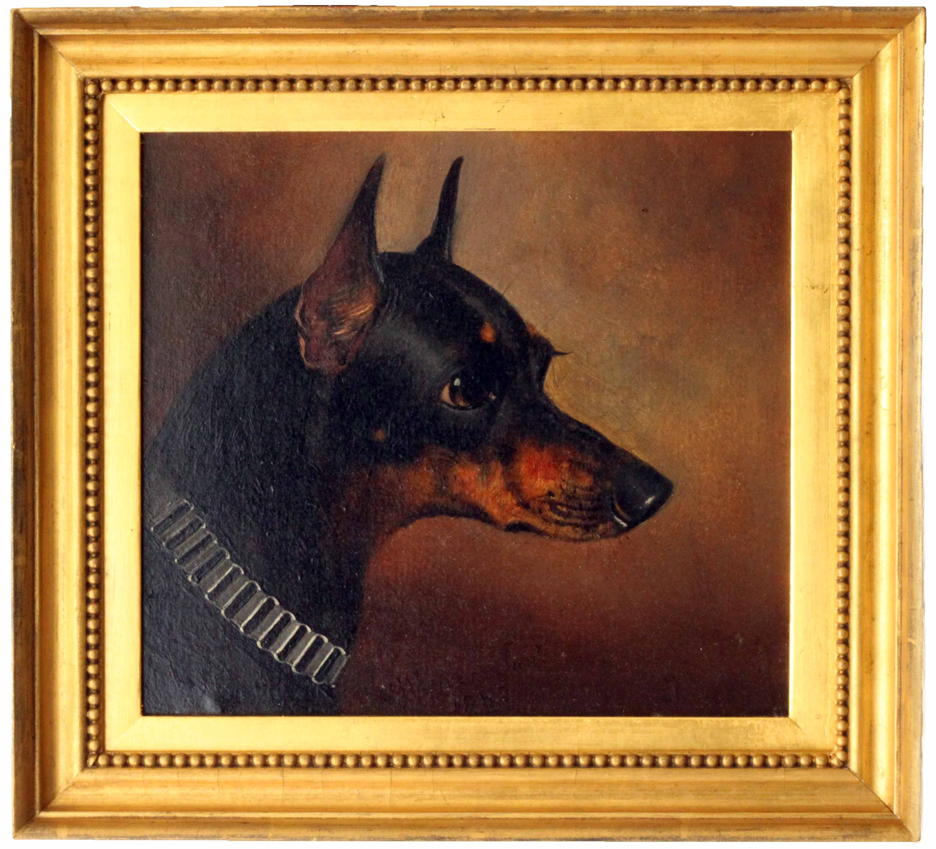 Click for larger image: A Wheeler Pinxt, oil on board of a Manchester Terrier by Alfred - A Wheeler Pinxt, oil on board of a Manchester Terrier by Alfred