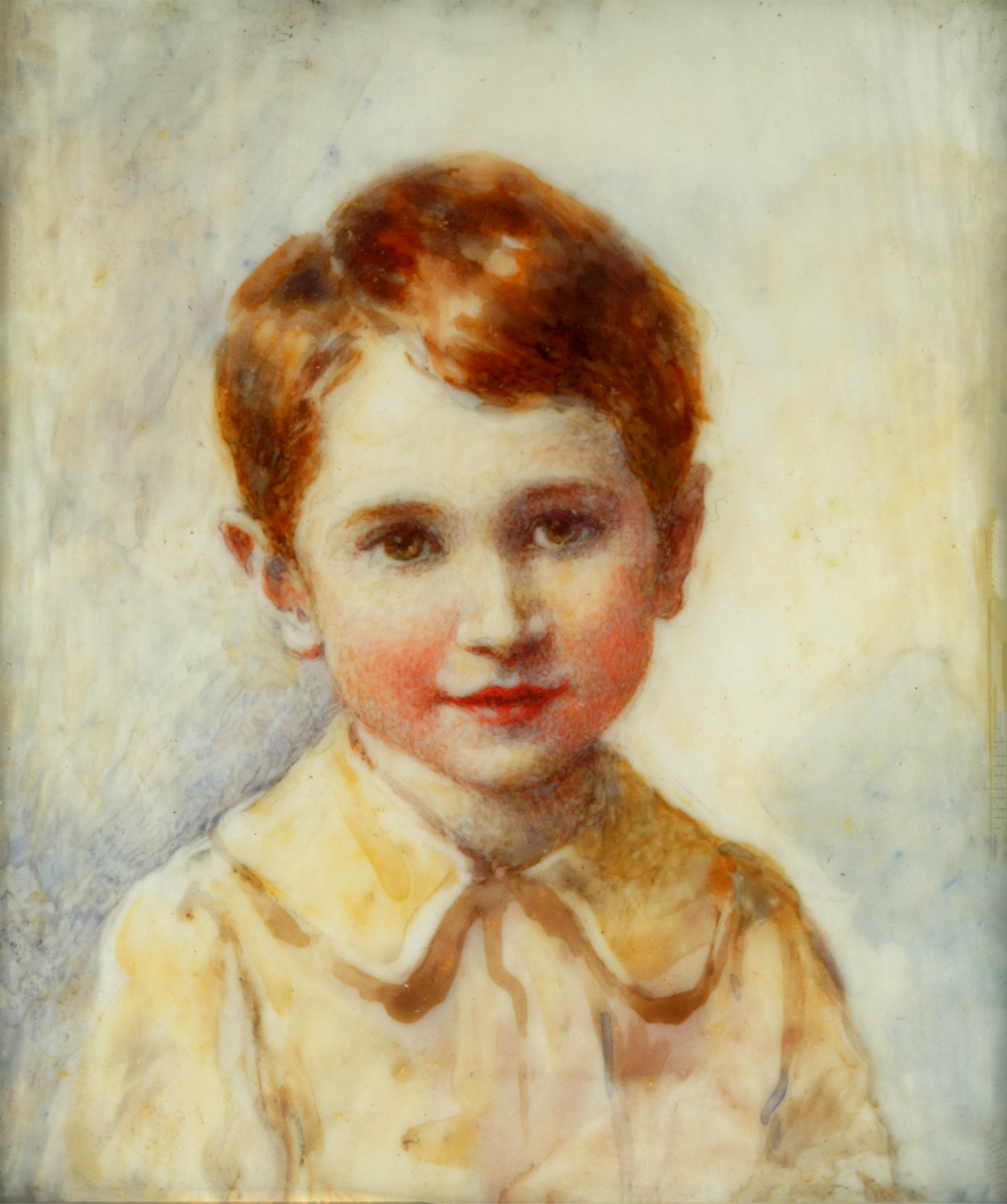 Click to see full size: Miniature on ivory of Lucy Dawson?s son by Lucy Dawson