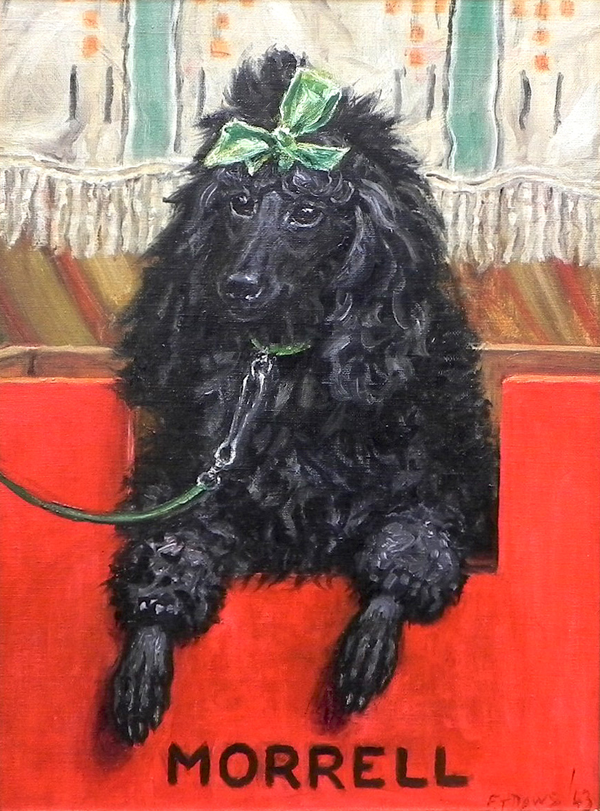 Click to see full size: Oil painting of poodle by Thomas Frederick Daws