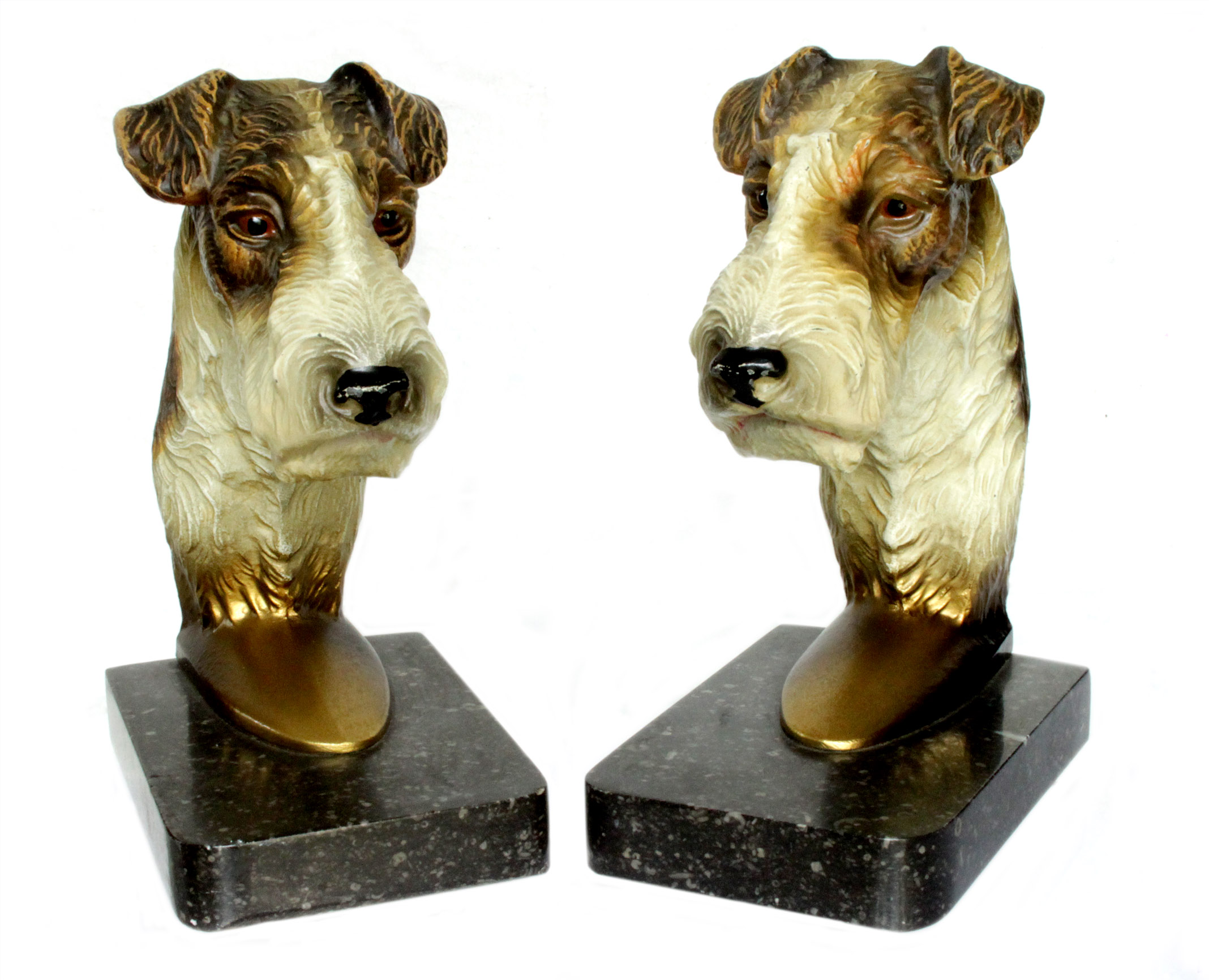 Click to see full size: 1930?s Austrian cold painted bronze bookends of Wire-haired Fox Terriers