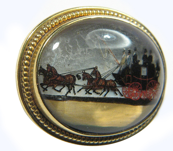 Click to see full size: Reverse intaglio crystal of coach and four in hand