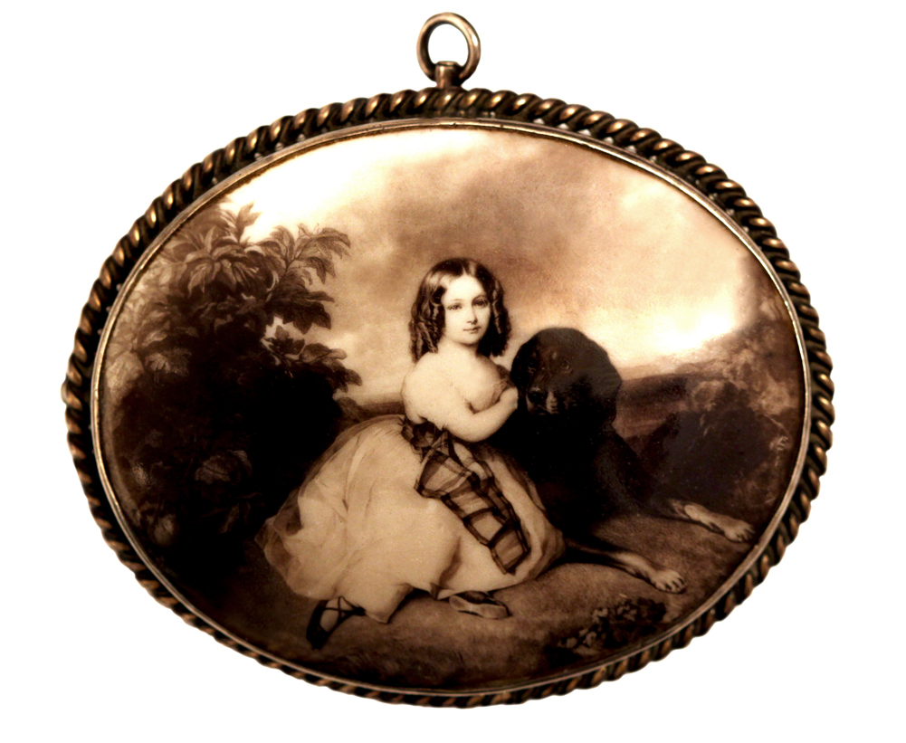 Click to see full size: An enamel brooch of Mlle Virginie Marie Louise de Sainte-Aldegond of Mlle Virginie Marie Louise de Sainte-Aldegonde, the future Duchesse de Rochechouart-Mortemart (1834-1900) from the portrait by Franz Xaver Winterhalter (1805-73) of 1839 Possibly the wor- An enamel brooch of Mlle Virginie Marie Louise de Sainte-Aldegond of Mlle Virginie Marie Louise de Sainte-Aldegonde, the future Duchesse de Rochechouart-Mortemart (1834-1900) from the portrait by Franz Xaver Winterhalter (1805-73) of 1839<br />