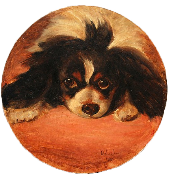Click to see full size: Oil on card of a King Charles Cavalier Spaniel by Otto Eerelman (Dutch, 1839-1926)  Roundel Oil on card of a head study King Charles Cavalier Tricolour Spaniel in the recumbent position by Otto Eerelman (Dutch, 1839-1926)   Signed and dated 1905.  Dutch,