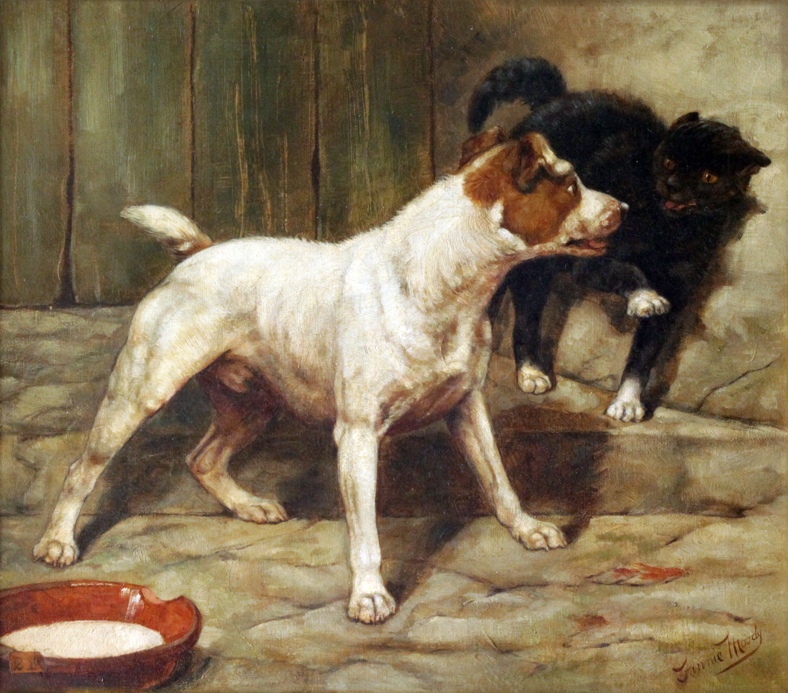 Click to see full size: Oil on canvas of Wire-Haired Fox Terrier and cat by Fannie Moody.