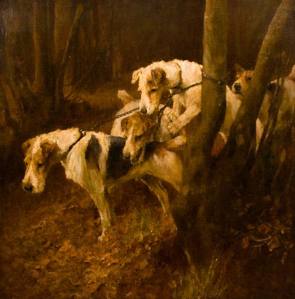 Click to see full size: Wire Fox Terrier oil painting by Aurthur Wardle (1864-1949)