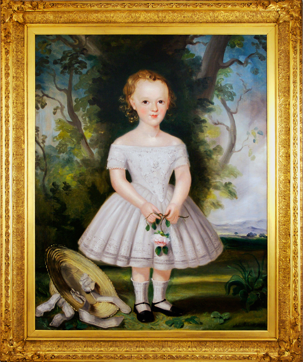 Click for larger image: 19th century oil on canvas of a girl / boy/ child with bonnet - 19th century oil on canvas of a girl / boy/ child with bonnet