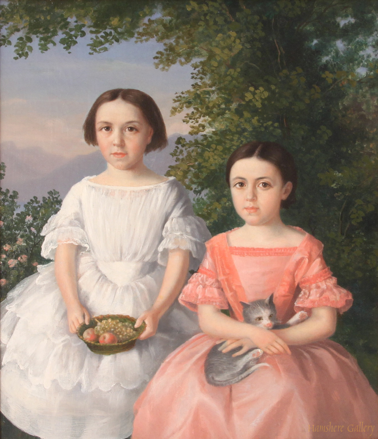 Click to see full size: oil on canvas of two young girls with cat / kitten.