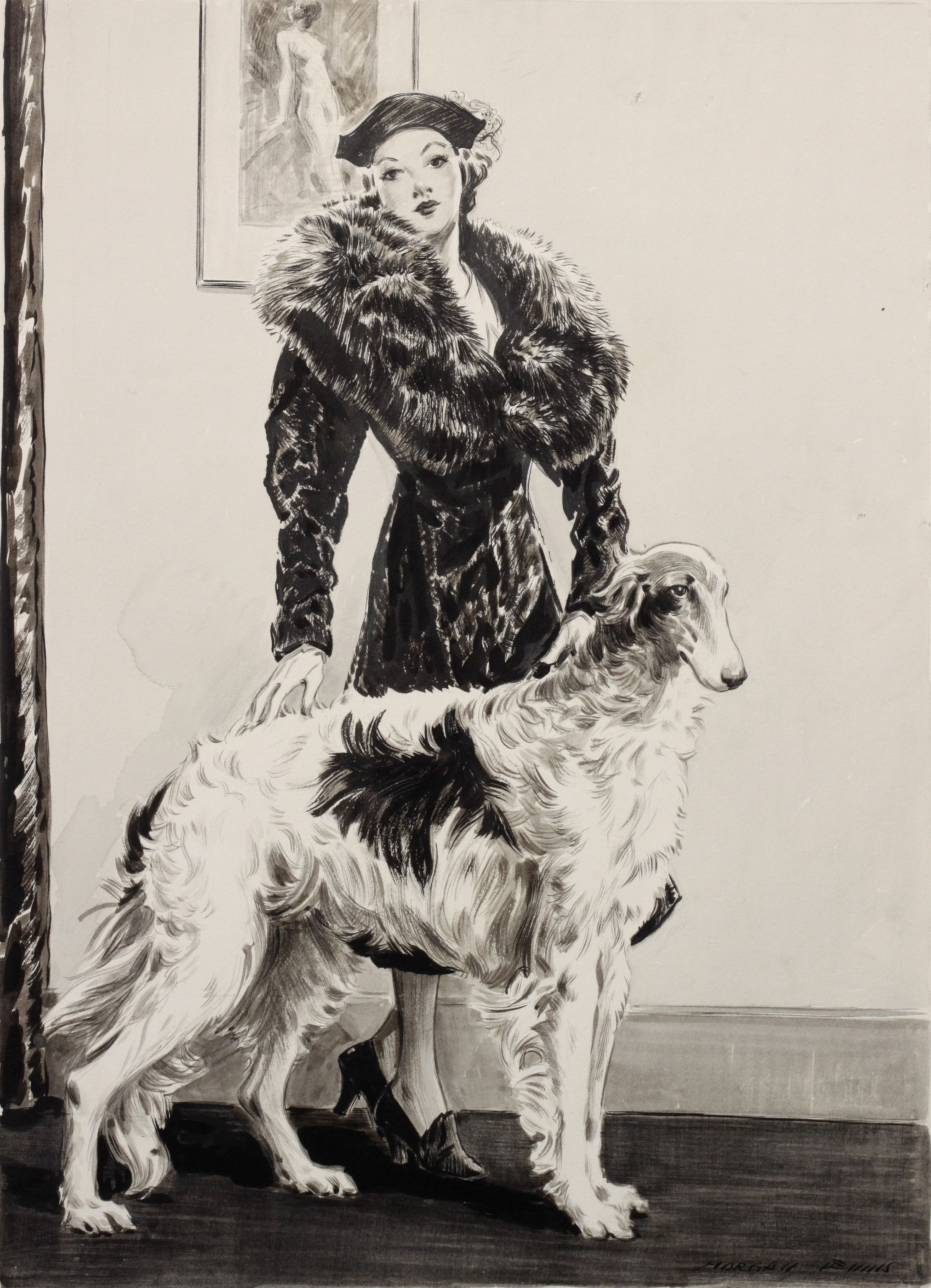 Click to see full size: Pen, ink and wash of lady and Borzoi by Morgan Dennis