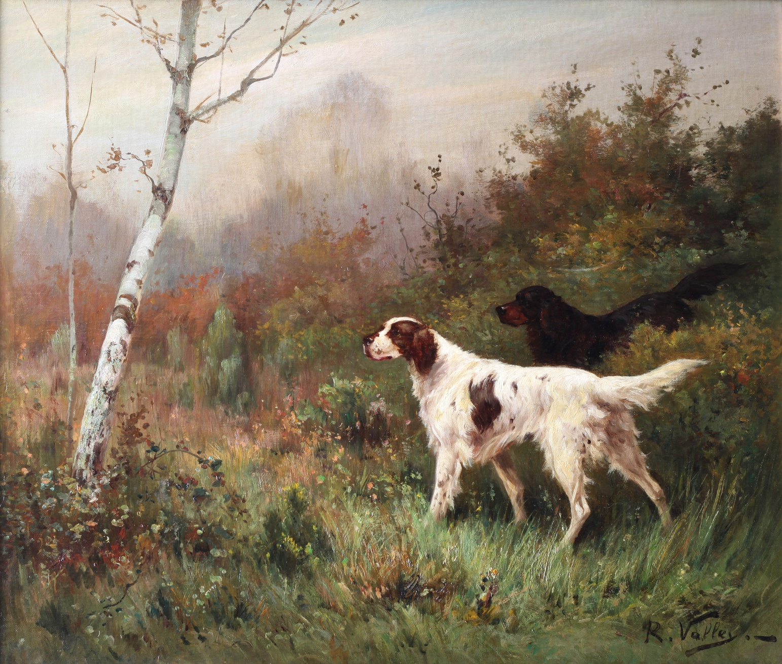 Click to see full size: Oil on canvas of English Setter and Gordon Setter by R Vallet