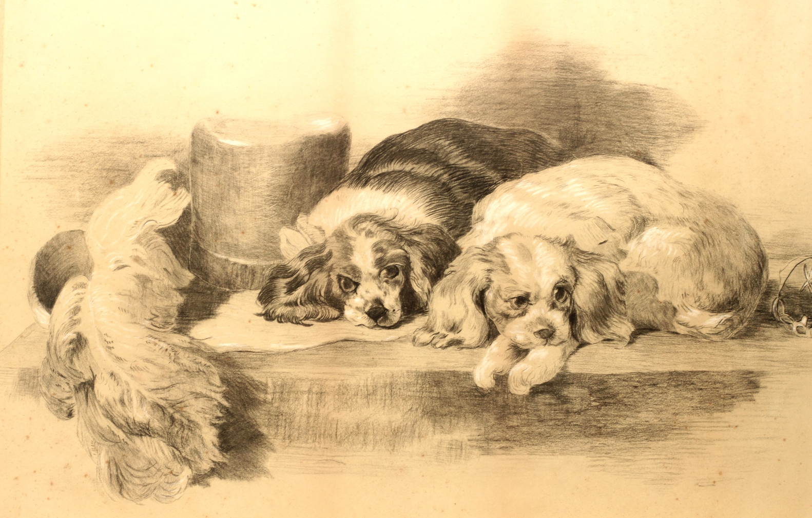 Click to see full size: A 19th century English pencil drawing of the ?Cavalier?s Pets? after Sir Edwin Landseer RA (1802-1873).- A 19th century English pencil drawing of the ?Cavalier?s Pets? after Sir Edwin Landseer RA (1802-1873).
