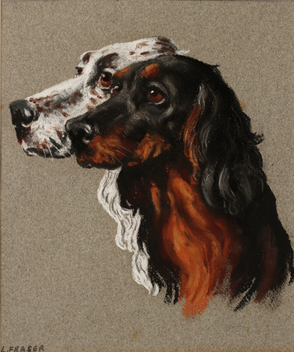Click to see full size: Pastel of a Gordon and English Setter by L W Fraser